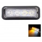 12W 720LM 6500K 577-597nm 4 LED Blanco + Amarillo La Luz Intermitente De Advertencia Con Cable Auto Lampara De Señal, Dc12-24v, Longitud De Cable: 95cm