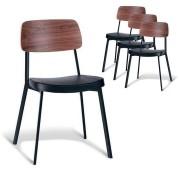 Set of 4 - Enfys Industrial Dining Chair - Black Frame - Walnut Back - Black Cushion Seat