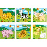 Vibgyor Vibes Early Age 6 in 1 Wood Block Puzzles for Small Kids (Zoo Animals Theme)