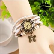 White High Quality Women Genuine Leather Vintage Quartz Dress Watches by 7star