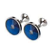 Manschettknappar Round Blue (1 par)