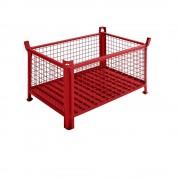 Heson Stapelbehälter mit Stahlblechboden LxB 1000 x 800 mm rot lackiert, ab 5 Stk