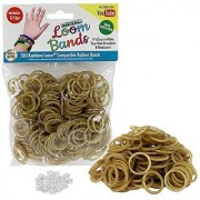 Loom Rubber Bands - 300 Metallic Gold Silicone Rubber Band Refill Pack with Clips - Latex Free
