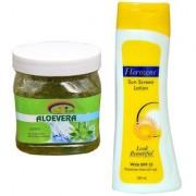 Florozone Sun Screen Lotion With SPF 25 Pink Root Aloe Vera Scrub 500ml