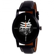 Lava Creation Sport Round Dial Mahadev Black Leather Strap Analog Watch For Men ( Sport mahadev black)