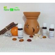 Candelă de aromaterapie și uleiuri esențiale 3X10ml: Ylang-Ylang, Portocale dulci și Lavandă