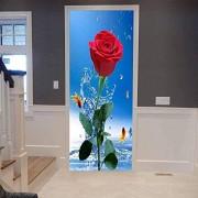 LeiDyWer Etiqueta de la puerta Red Rose Rash Pegatinas de puerta 3D a prueba de agua Dormitorio Sala de estar Pegatinas de pared extraíbles Murales85cm(W)*215cm(H)
