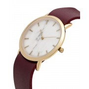Analog Watch Classic White Marble Dial & Cherry Strap Watch GC-CW