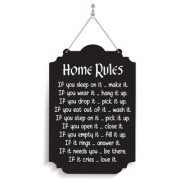 100yellow Wood Home Rules Designer Shape Decorative Plate Multi - Pack of 1