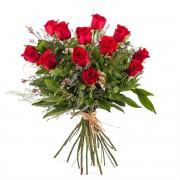 Interflora -12 Rosas Rojas de Tallo Largo - Flores a Domicilio