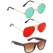 Elligator Round, Aviator, Wayfarer Sunglasses(Green, Red, Brown)