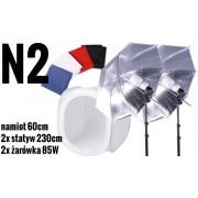 N2 zestaw oświetleniowy bezcieniowy - 2x400W + 2xParasolka srebrno-biała + namiot 60cm
