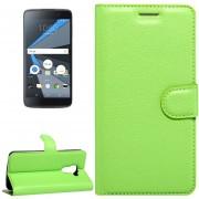 Para BlackBerry Dtek60 Litchi Texture Horizontal Flip Funda De Cuero Con Hebilla Magnetica Y Titular Y Ranuras Para Tarjetas Y Cartera (verde)
