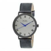 Simplify The 2900 Leather-Band Watch - Black/Charcoal SIM2906