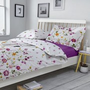 Lenjerie de pat, Dormisete, 2 persoane, Gardenia 02, renforce, imprimata, 220 x 230 cm, bumbac, Mov