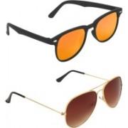 Zyaden Rectangular, Aviator Sunglasses(Multicolor, Brown)
