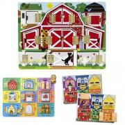 Melissa Doug Magnetic Farm Hide and Seek Latches Board and Magnetic Hide and Seek Board Bundle