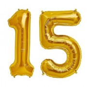 Stylewell Solid Golden Color 2 Digit Number (15) 3d Foil Balloon for Birthday Celebration Anniversary Parties