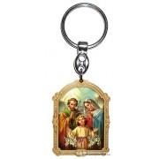 Aranyozott képes faplakett kulcstartó Szent Család