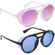 NuVew Round, Shield Sunglasses(Blue, Violet)