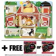 Farm: Hide & Seek Wooden Magnet Activity Board + FREE Melissa & Doug Scratch Art Mini-Pad Bundle [45