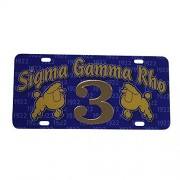 Sigma Gamma Rho Line #3 Numbered Car Tag Line Number Acrylic Printed Decorative Tag For Front Back of Car