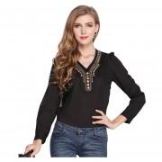 Y-camisa V-cuello De La Camiseta Cobre De La Moda Retro Manga Larga Gasa - Negro