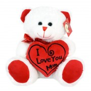 White and Red Teddy Bear holding I Love You MOM heart Plush Soft Toy