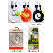 Плосък кабел с метални конектори Micro USB / USB data кабел