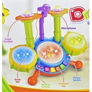 Sajani Drumming Toys for Baby Kids Touch Electronic Drum Set Big with Flashing Lights Size : 40 x 23 x 30 cm