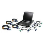 """IOGear GCL1808KIT Integrated KVM Console with 17"""" TFT LCD Active Matrix Monitor, Keyboard and Touchpad with KVM Cables, 8-Port"""