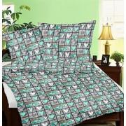 Zöld páfránylevél mintás 140x200 cm méretű 3 részes ágynemű huzat szett