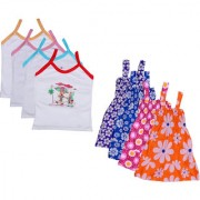 IndiWeaves Baby Girls Cotton Printed Frock and Printed Slips (Pack of 8)