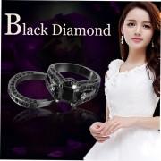 Anillo De Diamantes De La Sra Anodizado Negro Diamante Negro Nueve Yardas-Negro E-ibuybuybuy