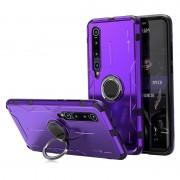 Drop-proof Kickstand Metal Silicone Combo Case for Xiaomi Mi 10 - Purple