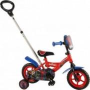 Bicicleta Copii Volare Spiderman 10 inch cu Maner si roti Ajutatoare Red-Blue