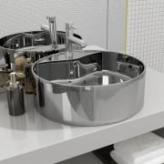 vidaXL Мивка с преливник, 46,5x15,5 см, керамична, сребриста