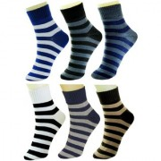 Neska Moda 6 Pair Men Formal Cotton Rich Ankle Length Socks Blue Black Grey