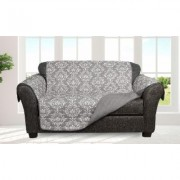 Quick Fit Damask and Plaid Check Reversible Slipcover Furniture Protector Loveseat Standard Damask-Grey