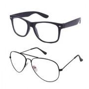 Ivonne Clear Lens Black Aviator Wayfarer Sunglasses for Men Women. Boys Girl Set Of 2