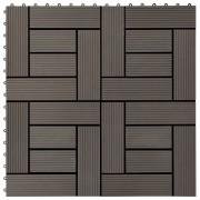 vidaXL 11 бр декинг плочки, WPC, 30x30 см, 1 кв.м., тъмнокафяви