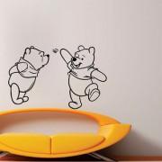 EJA Art Two Cute Pooh Wall Sticker (Material - PVC) (Pec - 1) With Free Set of 12 pec butterflies sticker