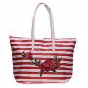 3055 piros fehér csíkkal shopper táska
