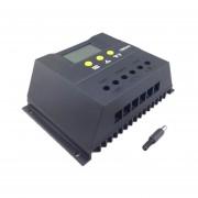EY Controlador de carga solar LCD de luz trasera 48V Cargador de batería automático regulador PWM-Negro
