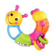 Twist and Play Caterpillar Rattle Lovely Worm Rattle Toys Baby Toys 6 to 12 Months with Rotary Head Holding Rings Colorful Beads Small Mirror and Twisting Game