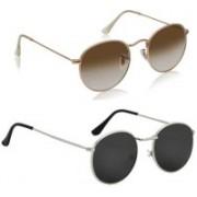 deixels Oval, Oval Sunglasses(Black, Brown)
