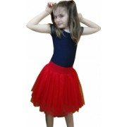 Fusta tulle rosu tutu copii - Alessia - 7 ani