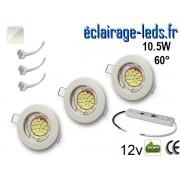 Kit Spot MR16 fixe blanc 18 LED blanc naturel 60° perçage 60mm 12V ref kmr16-01
