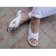 Papuci femei din piele,334 alb,Ana Viotti