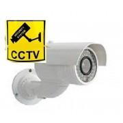 Telecamera sorveglianza videosorveglianza FINTA con cartello adesivo SECURITY